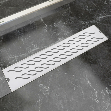 vidaXL Lineært bruseafløb bølgedesign 530x140 mm rustfrit stål