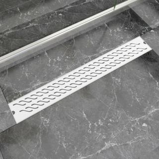 vidaXL Lineært bruseafløb bølgedesign 830x140 mm rustfrit stål