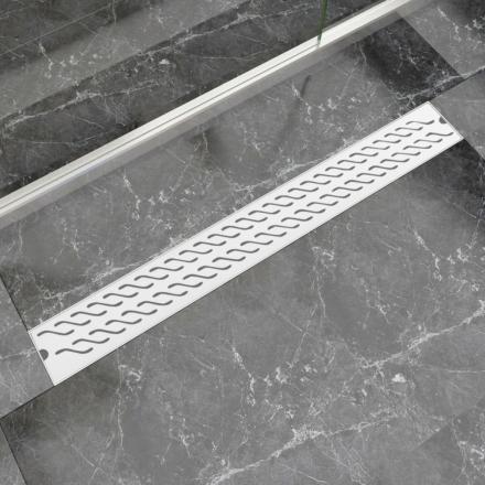 vidaXL Lineært bruseafløb bølgedesign 930x140 mm rustfrit stål