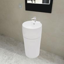 vidaXL Keraaminen Seisova Kylpyhuoneen Pesuallas Hanareiällä Valkoinen Pyöreä