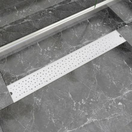vidaXL Lineært bruseafløb bobledesign 830x140 mm rustfrit stål