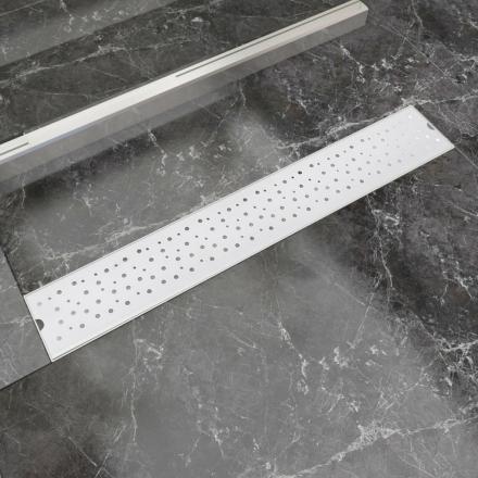 vidaXL Lineært bruseafløb bobledesign 730x140 mm rustfrit stål