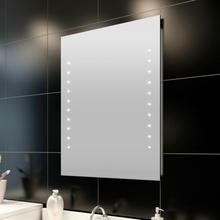 vidaXL badeværelsesspejl med LED-lys til væggen 60 x 80 cm (L x H)