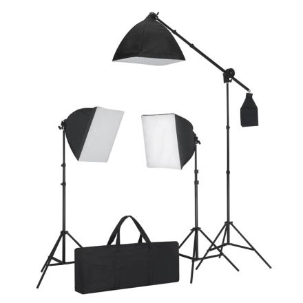 vidaXL Belysningssæt 3 fotolys med stativ og softbox