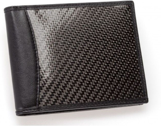 Leather and carbon fiber wallet MR CARBONO California Black Certified by UPC