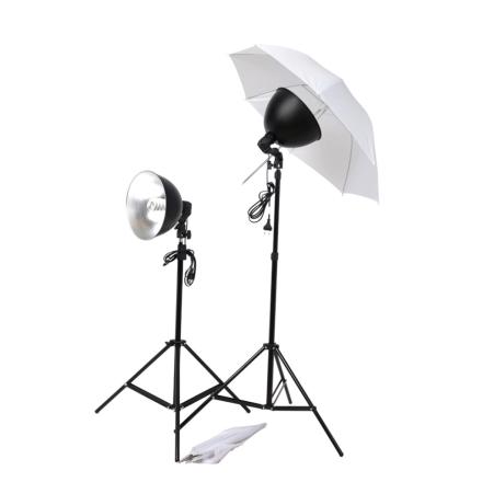 vidaXL studiobelysningssæt paraplyer lampeskærme stativer
