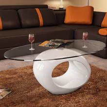 vidaXL Sohvapöytä soikea lasinen pöytälevy korkeakiilto valkoinen
