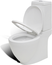 vidaXL Toalettstol fyrkantig keramisk vit