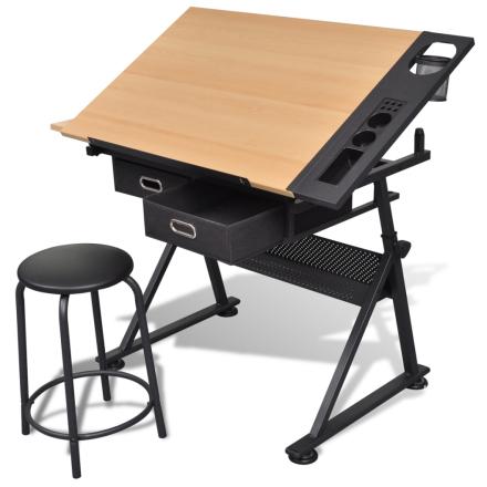 vidaXL Tegnebord med vipbar bordplade og stol