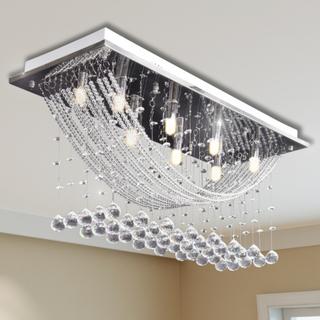 vidaXL Hvid Loft Lampe med glitrende Glas Crystal Beads 8 x G9 29 cm