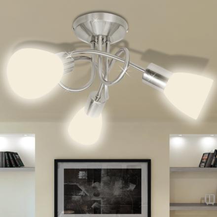 vidaXL Taklampa med ovala glasskärmar för 3 E14-lampor