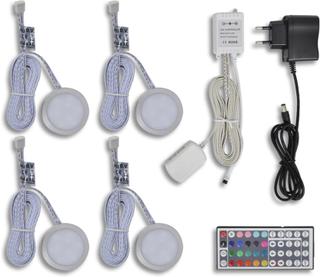 vidaXL LED belysning, rund till köksskåp 4-pack