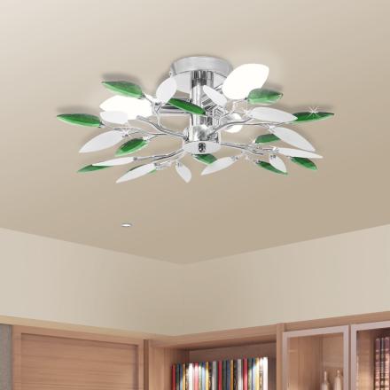 vidaXL Taklampa med kristallöv 3 E14 glödlampor vit & grön