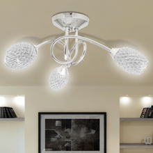 vidaXL Taklampa med kristallskärmar i akryl för 3 G9-lampor