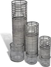 vidaXL Handgjorda gråa ljushållare, snurrad design, set om 3