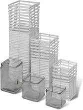 vidaXL Handgjorda vita ljushållare, snurrad design, set om 3