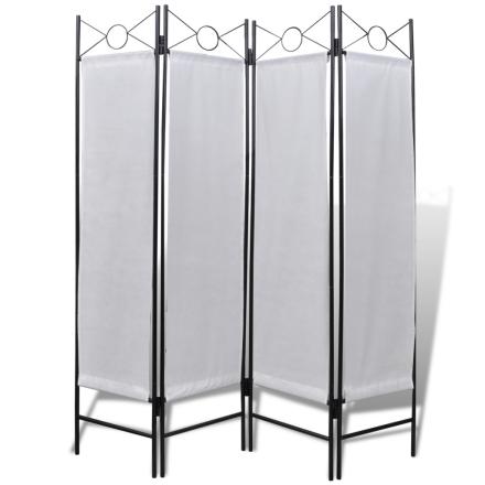 vidaXL Romdeler hvit 160 x 180 cm 4 paneler