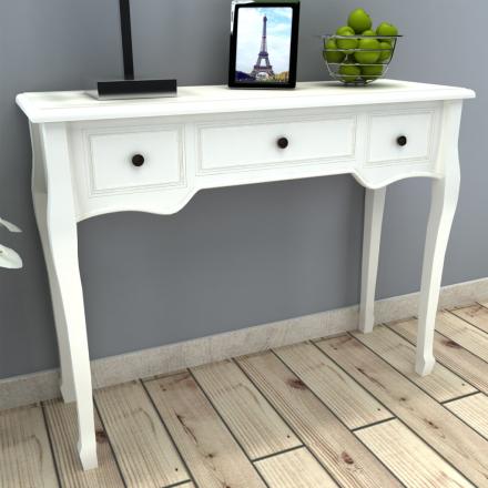 vidaXL Konsolbord med tre lådor vit