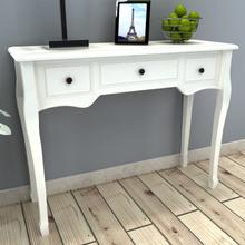vidaXL Konsollbord med tre skuffer hvit