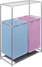 vidaXL 2-sektions tvättsorterare med en övre torkhylla