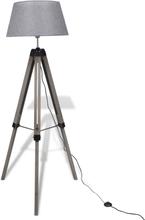 vidaXL Golvlampa med tygskärm på justerbart trästativ grå