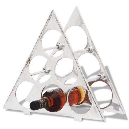 vidaXL Vinställ för 6 flaskor aluminium silver