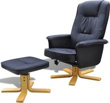 vidaXL lænestol med fodskammel justérbar kunstlæder sort
