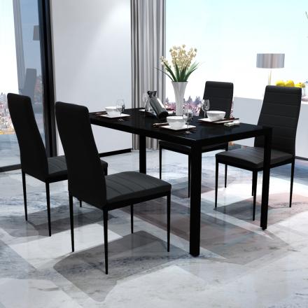 vidaXL Moderne spisestue sett med bord og 4 stoler svart