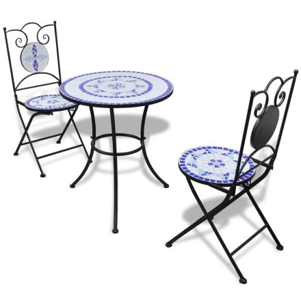 vidaXL Caféset mosaik 60 cm med 2 stolar blå/vit