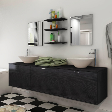 vidaXL sæt med badeværelsesmøbler og håndvask 8 dele sort