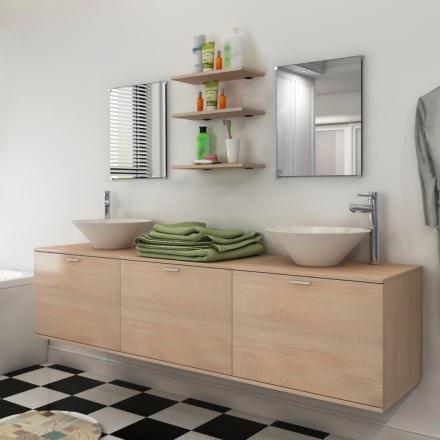 vidaXL sæt med badeværelsesmøbler og håndvask 8 dele beige