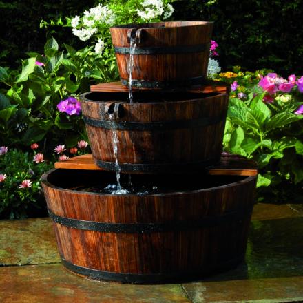Ubbink havevandfald/springvand af trætønder, sæt med 3 tønder