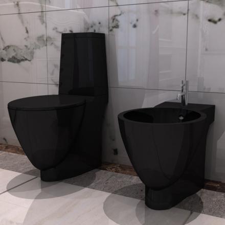 vidaXL Svart Keramisk Toalett & Bidet Sett