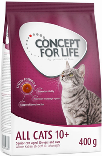 12 x 85 g Concept for Life vådfoder + 400 g tørfoder - All Cats - i sovs
