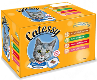 Blandet pakke: 36 x 100 g Catessy Bidder - 36 x 100 g med 12 forskellige varianter