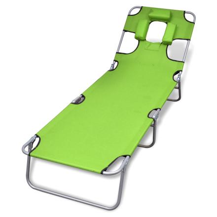 vidaXL Sammenleggbar eplegrønn solseng med hodepute og justerbar ryggstøtte