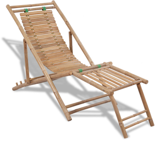 vidaXL Solstol i bambu med fotstöd