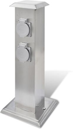 vidaXL Utomhusuttag på stolpe rostfritt stål
