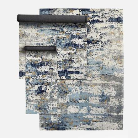 BREEZE vævet bomuldstæppe - 200x290 - blå/off white