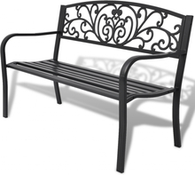 vidaXL Trädgårdsbänk 127 cm gjutjärn svart