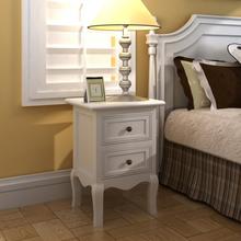 vidaXL Sängbord 2 st med 2 lådor MDF vit