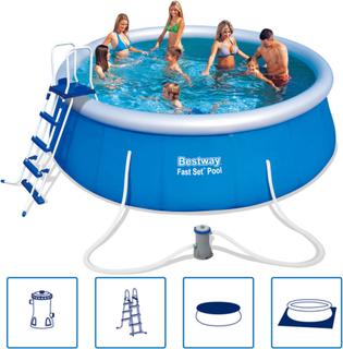 Bestway hurtig Rund Oppustelig Swimming Pool Sæt 457 x 122 cm 57289