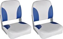 vidaXL Båtstolar 2 st hopfällbara med blå-vit kudde 41x36x48 cm