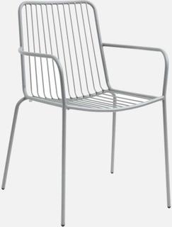 GARDEN havestol i lakeret stål med armlæn - grå