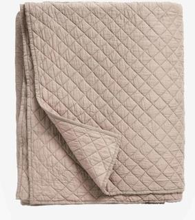 Quiltet sengetæppe i bomuld - 220x270 - mørk sand