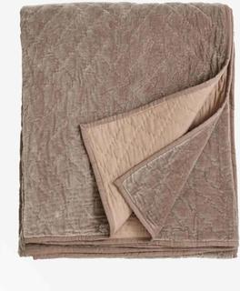 Quiltet sengetæppe i velour - 220x270 cm - mørk sand