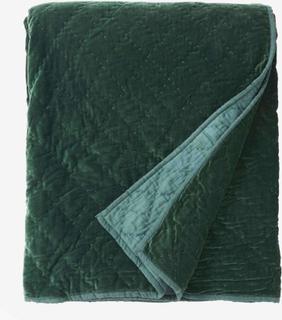 Quiltet sengetæppe i velour - 220x270 cm - mørkegrøn
