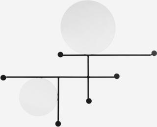 Runde spejle med 6 knager i jern - 83x67 cm - sort