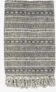 Tæppe i bomuld - Etnisk print - 130x160 - grå/råhvid