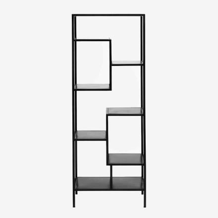 Reol i jern med asymmetriske hylder - 150x50 - sort